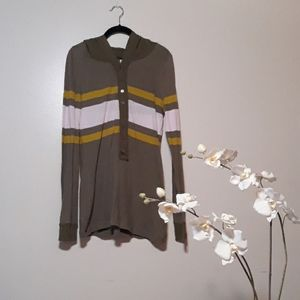 Free People   Striped Popover  Hooded  Shirt